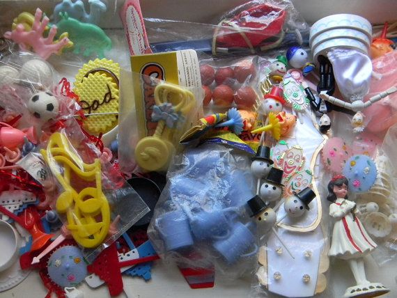 SALE  Over 125 Vintage Cake Decorations & Dime by ManyHappyReturns, $16.99
