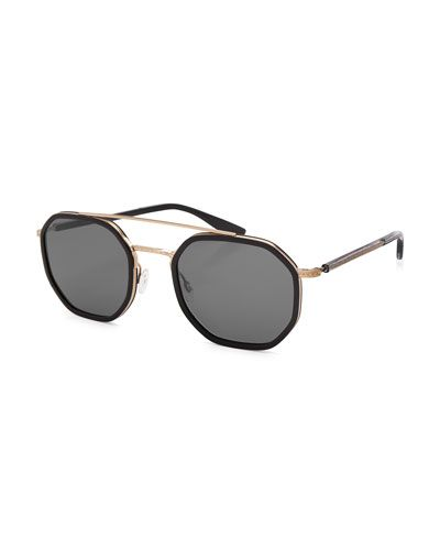 Themis Octagonal Sunglasses, Black Gold Noir 892a6c0867