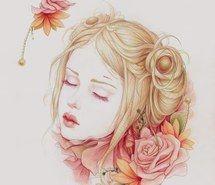Inspiring picture art, portrait, roses, beautiful, girl, hair, paintings, flowers, illustration, creative