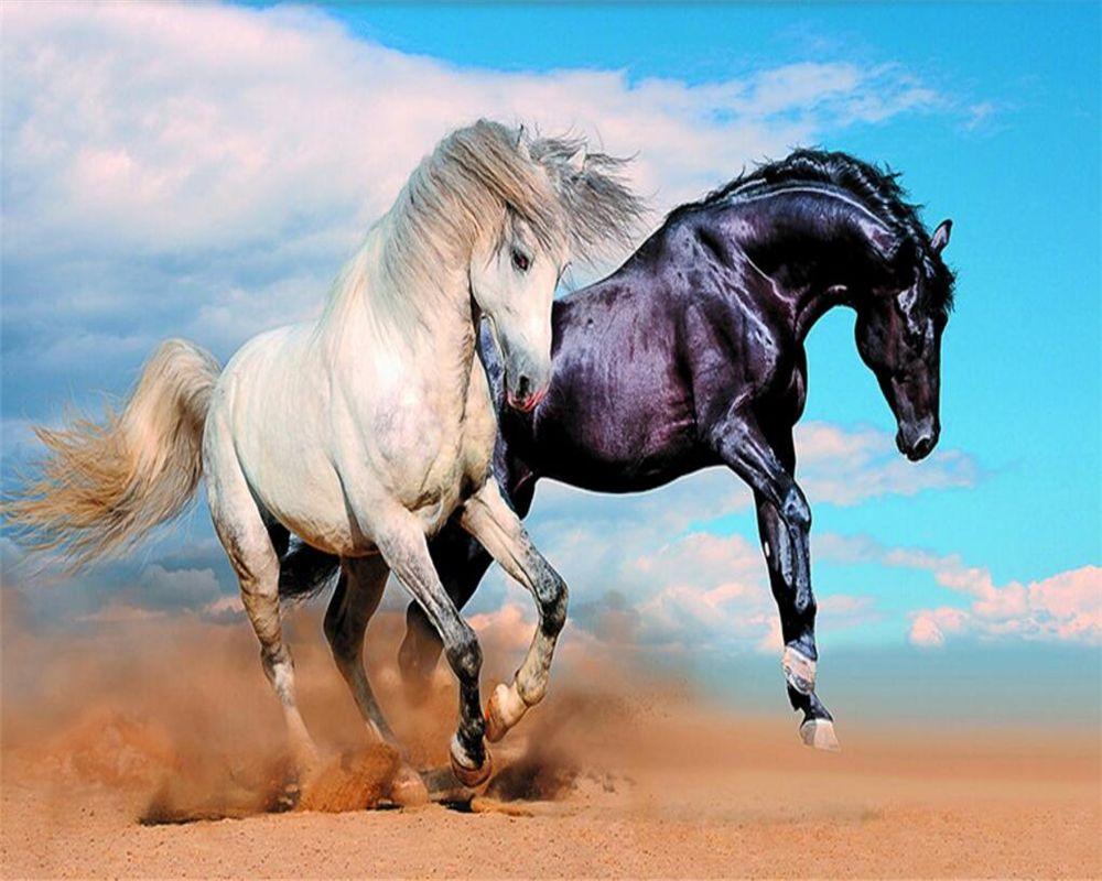 Beibehang Custom Large Fresco Wallpaper Black And White Horses 3d