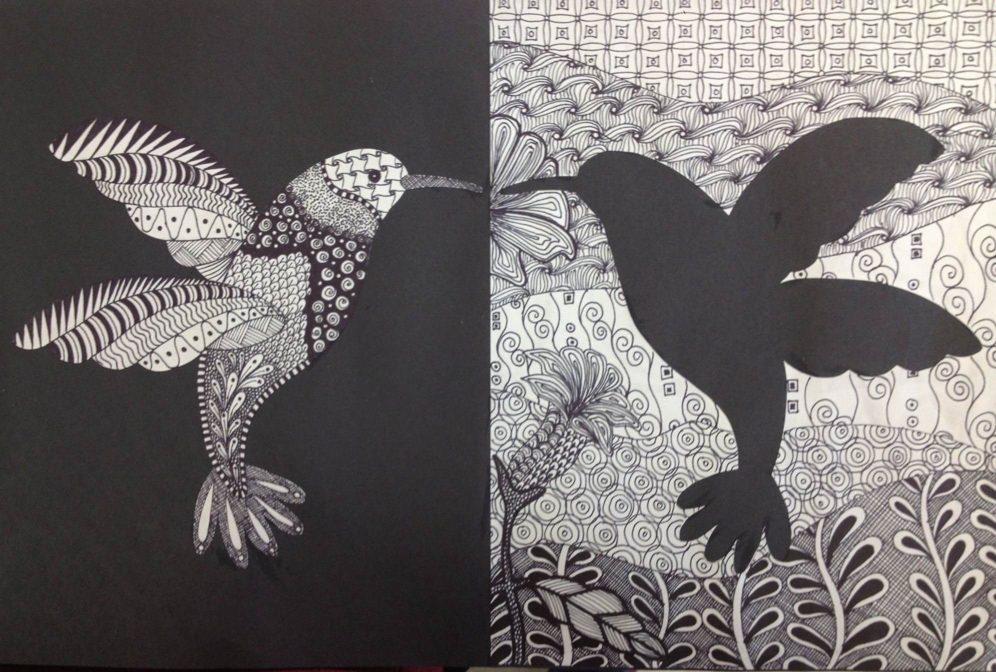 artwork inspiration: Zentangle hummingbird ... notan ...