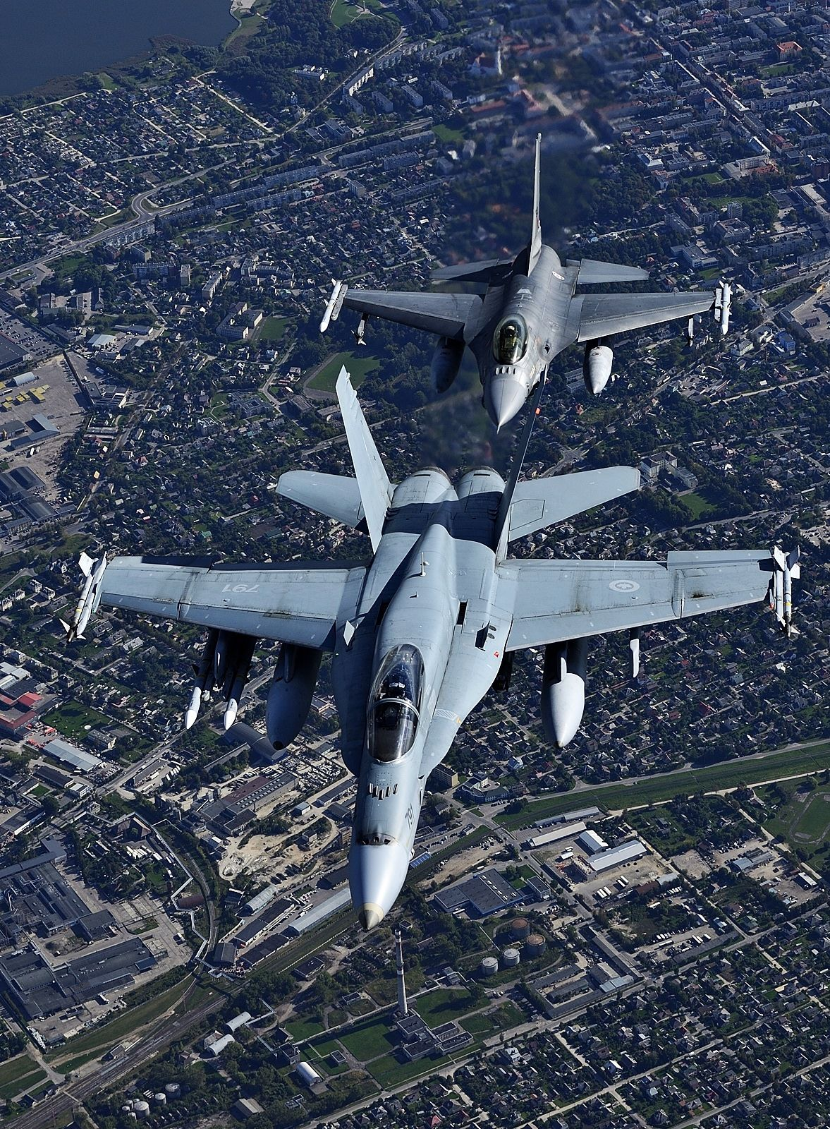 Canadian F/A-18 and Portuguese F-16 protecting Baltic airspace