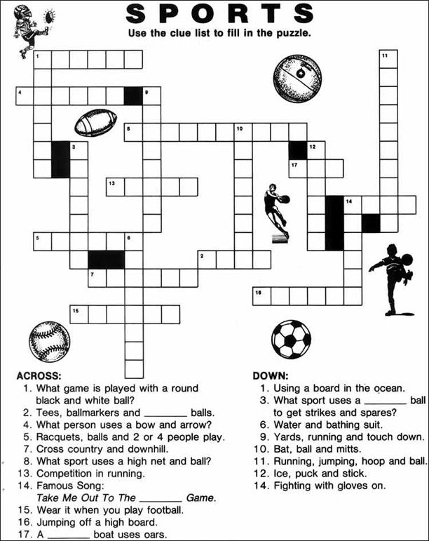 graphic relating to Sports Crossword Puzzles Printable referred to as Printable Sports activities Crossword Puzzles Puzzles Sports activities