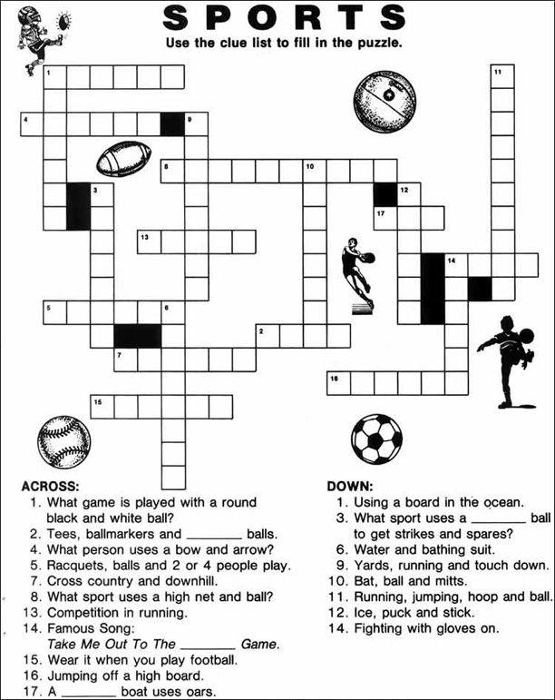 Printable Crossword Worksheets : Printable sports crossword puzzles english pinterest