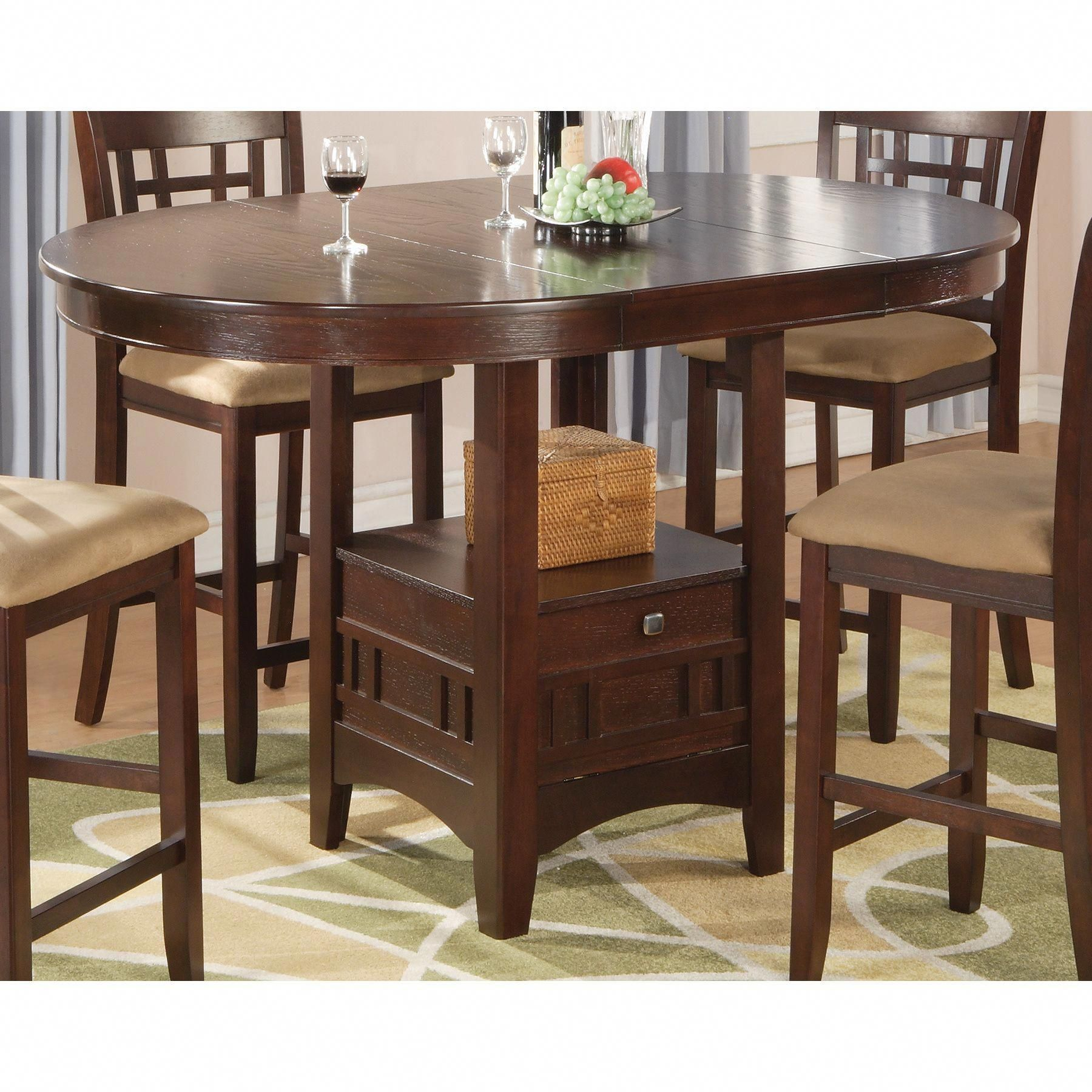 Coaster Lavon Casual Counter Height Storage Table Brown Counter