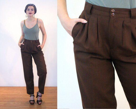 40dc221476e7 80s Giorgio Sant Angelo Pants S, Brown Wool High Waisted Pleated Menswear  Style Vintage Trousers, Sm