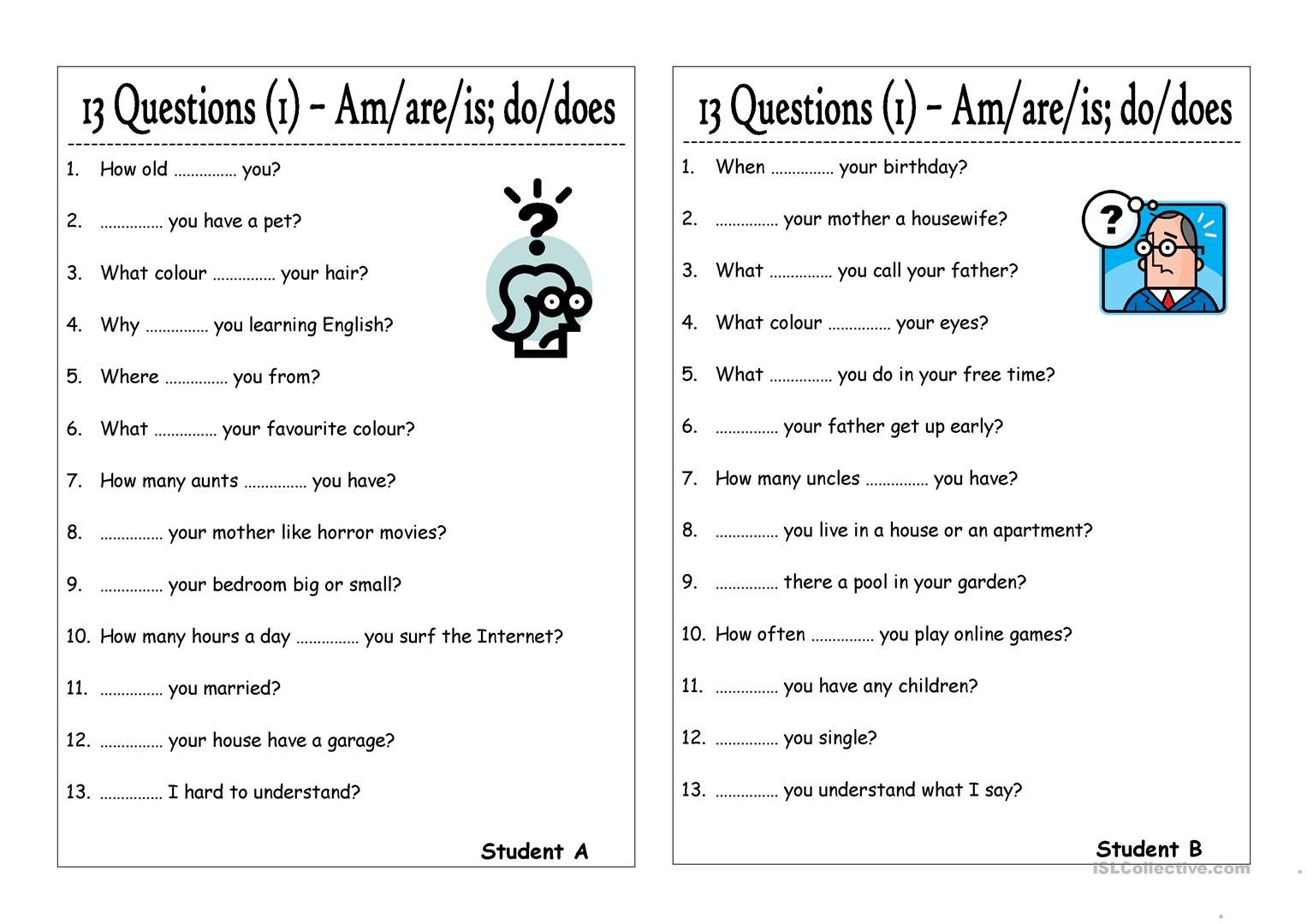 Questions And Answers With Is Am Are Exercise