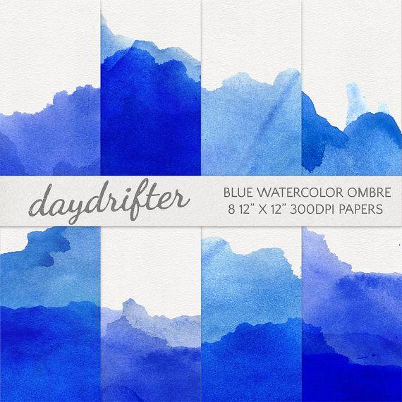 Blue Watercolor Ombre Dip Dye Paper Digital Scrapbooking