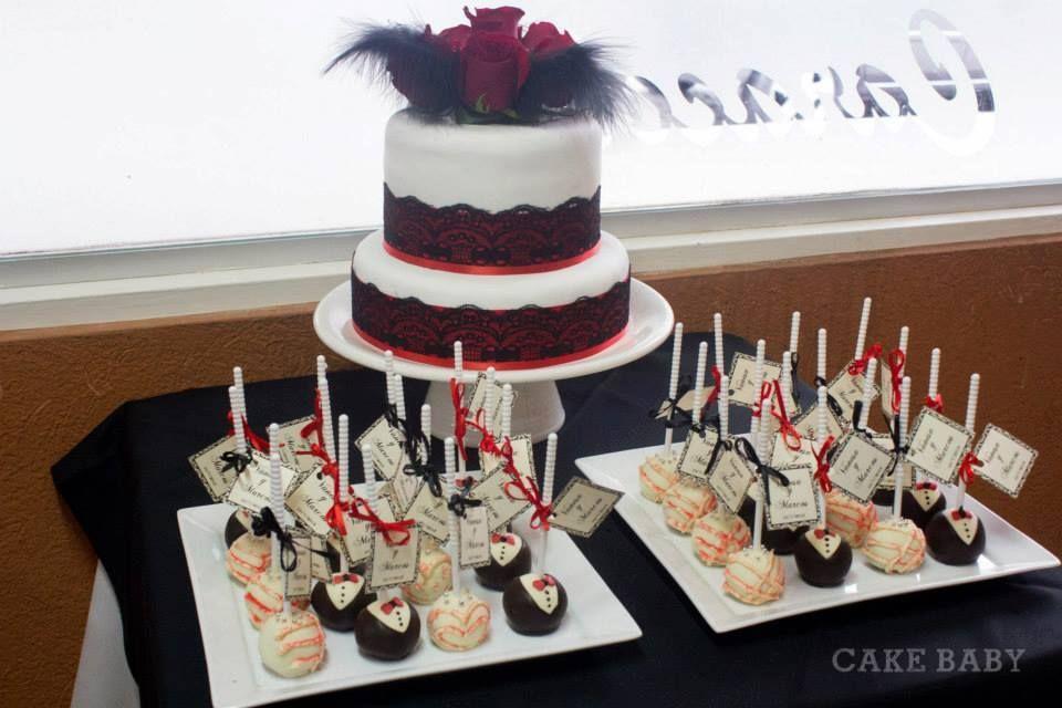 Cake pops novios y Torta para civil