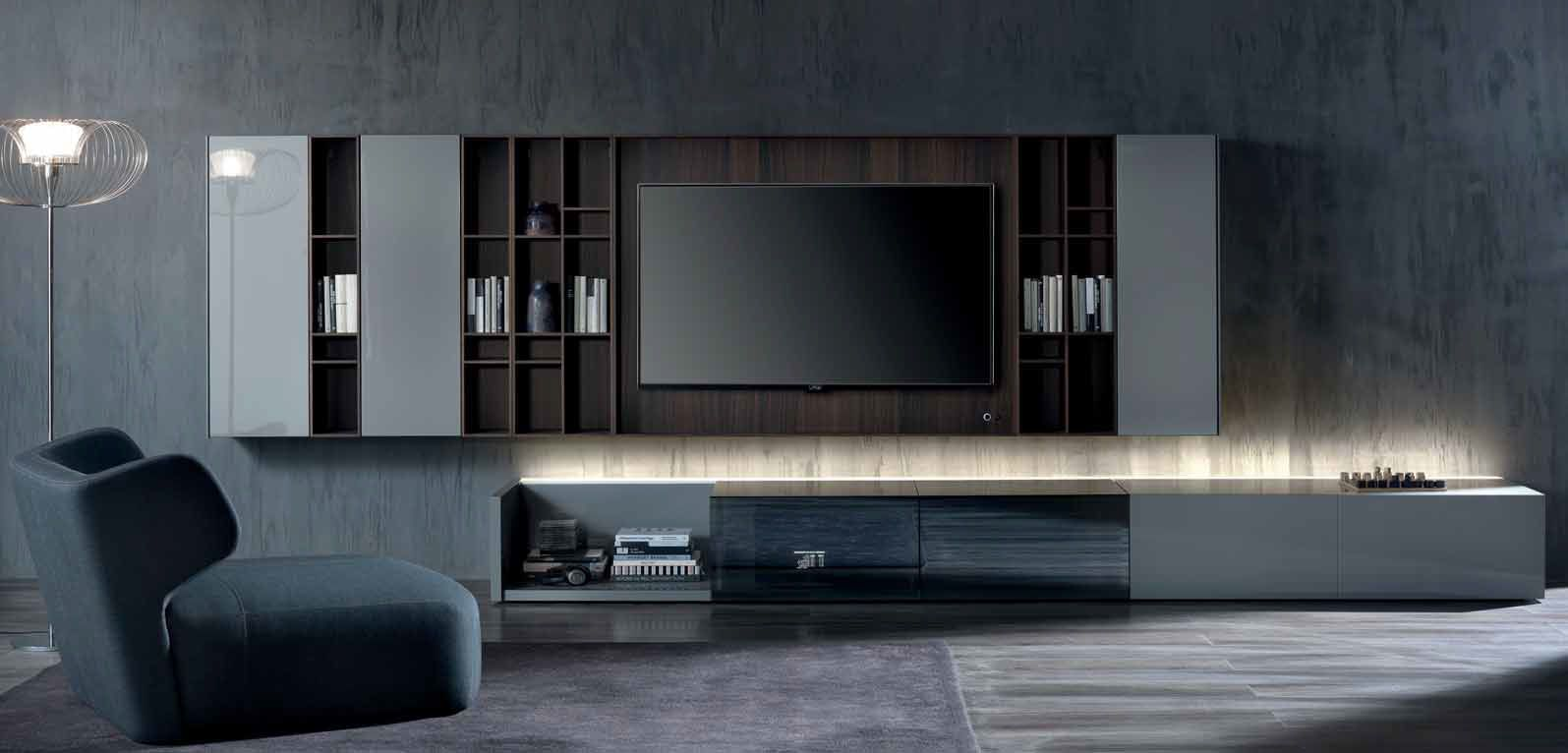 contemporary tv wall unit wood n c ground case by massimo
