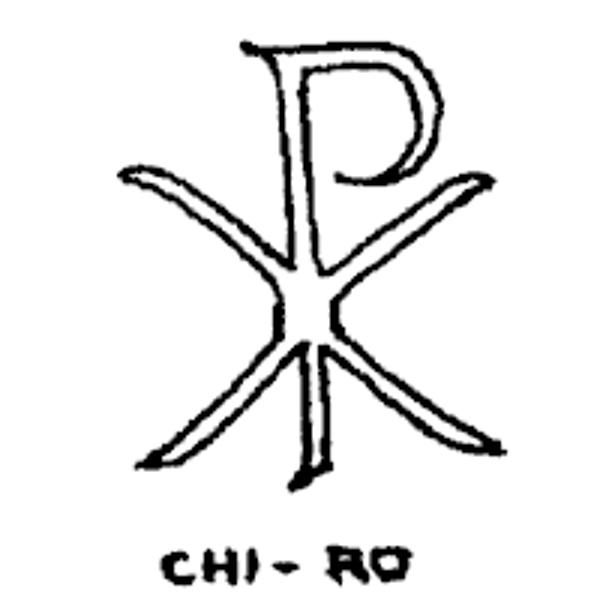(Catholicism/Egyptian Polytheism) The Chi-Ro symbol is a symbol used by Catholic priests and popes. It was originally an ancient Egyptian/Grecian symbol portraying Horus/the Sun God, aka more Babylonian Sun-worship. Catholics say it stands for the Alpha and Omega. It represents the false Christ of Catholicism/Laodicean Christianity. It is also the origin of the 322 skull and cross-bones logo.