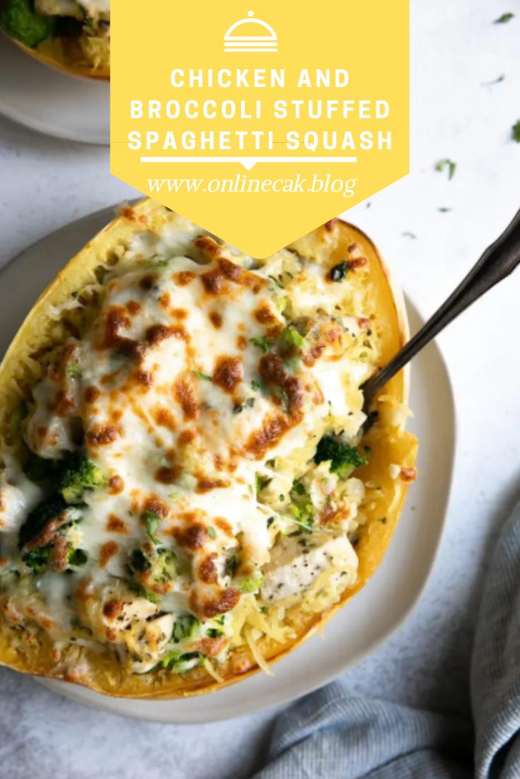 Chicken and Broccoli Stuffed Spaghetti Squash - Recipes for moms #stuffedspaghettisquash Chicken and Broccoli Stuffed Spaghetti Squash - Recipes for moms #stuffedspaghettisquash
