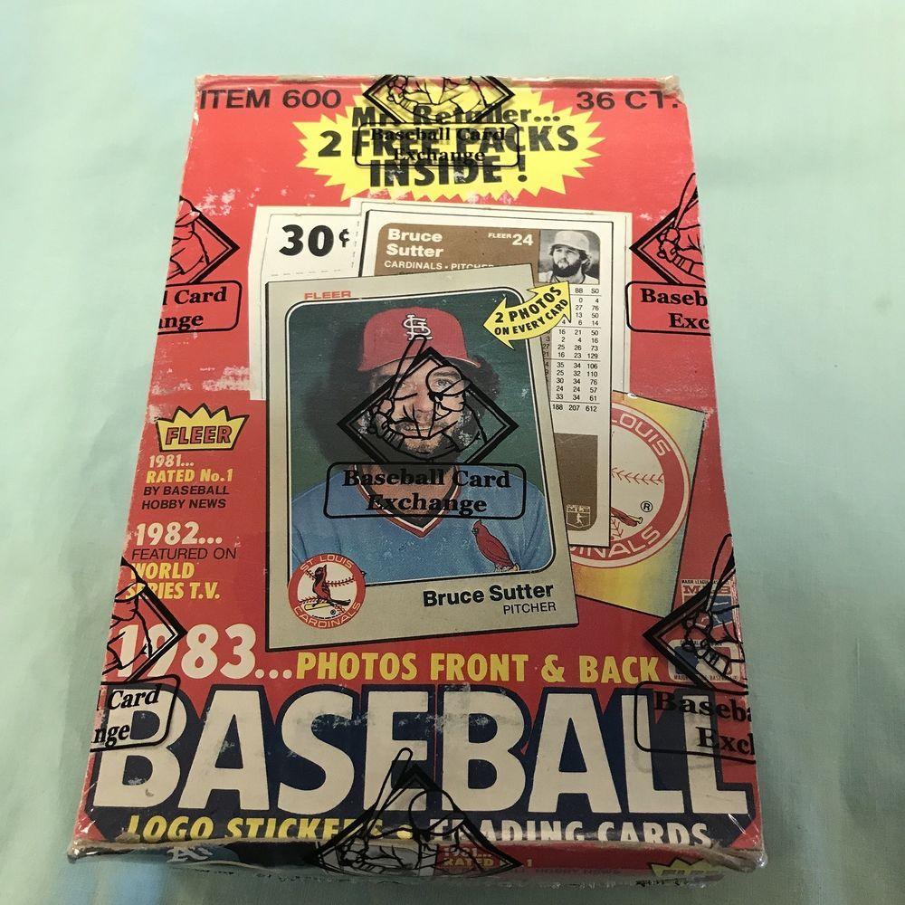 1983 fleer baseball full box 36 factory sealed wax packs