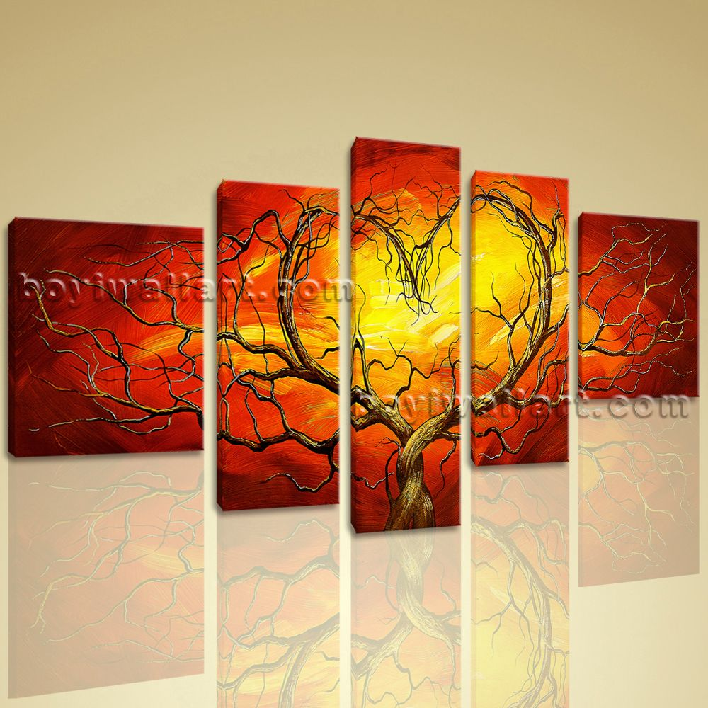 Huge Canvas Giclee Print Modern Abstract Love Tree 5 Panels Floral ...