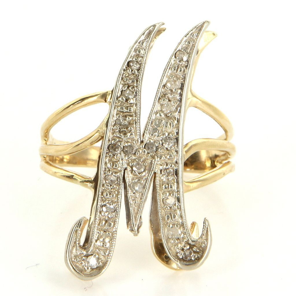Vintage 14 Yellow White Gold Diamond Letter M Initial Cocktail Ring Fine Jewelry