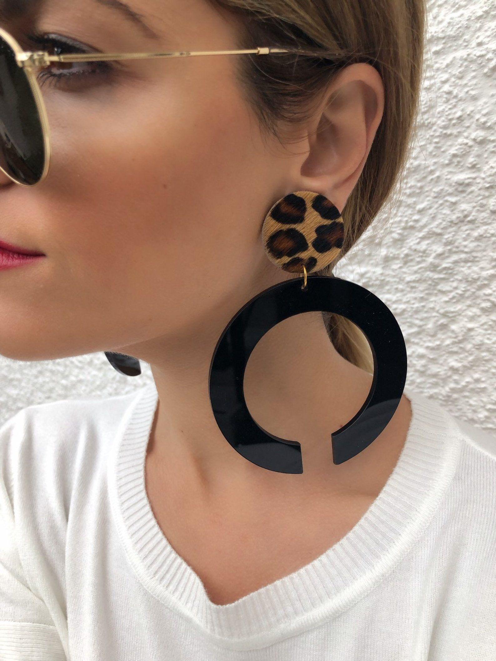 Hoop earrings with stone big silver earrings circle earrings dangle large earrings for women fashion statement earrings earrings unique gift