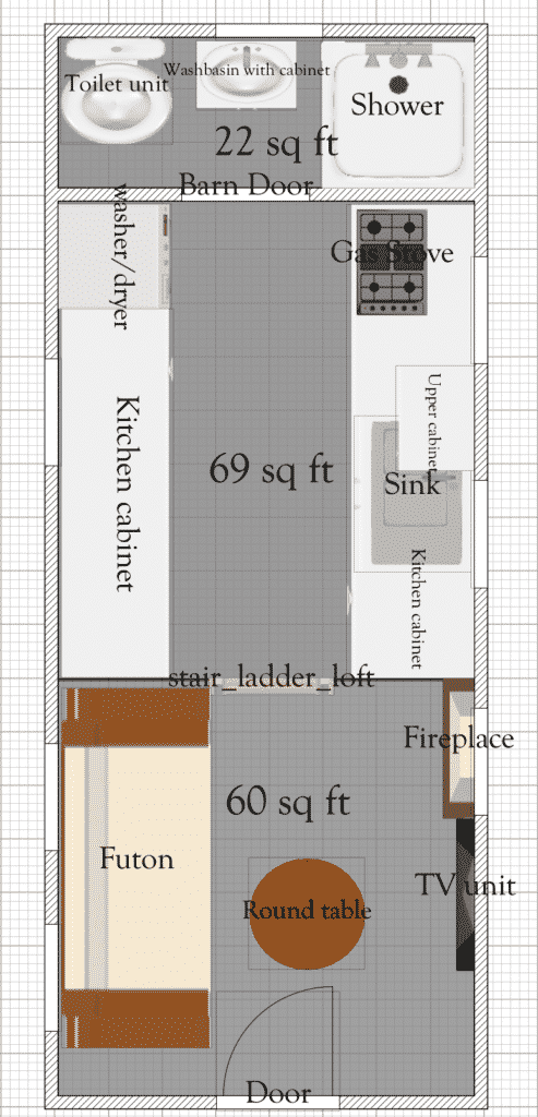 This Is One Of Our Free Tiny House Floor Plans It Is An 8ft By 20ft Floor Plan And Also Has Additional Tiny House Floor Plans Tiny House Plans Tiny House