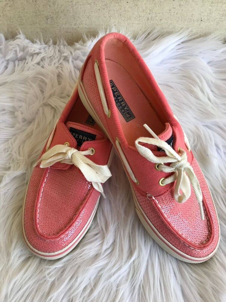 4195b7631e05 Sperry Top Sider Women's Boat Shoe Size 7M Pink Coral Sequin EUC | eBay