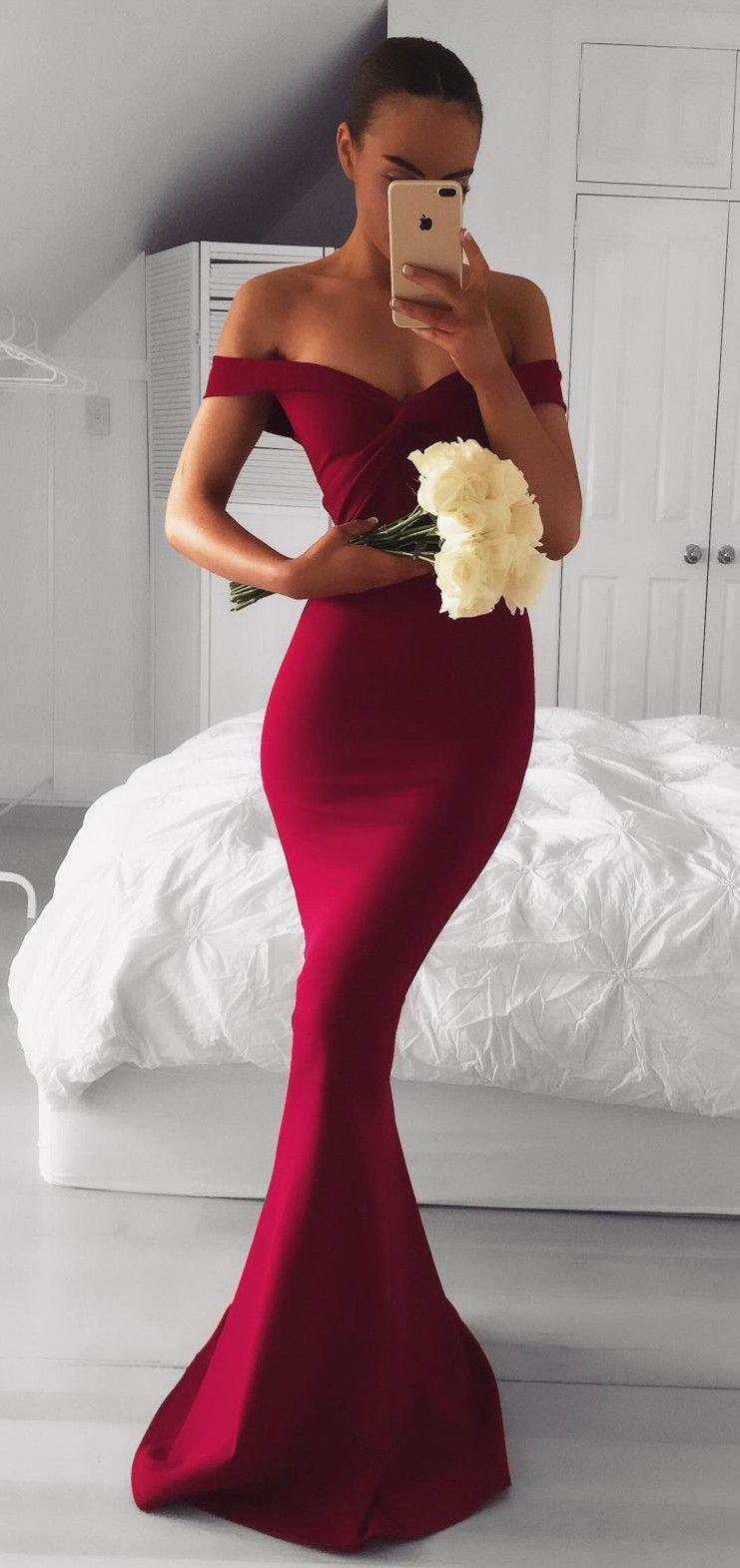 Elegant Off Shoulder Mermaid Wine Red Long Bridesmaid Dress Burgundy Prom Dress Simple Prom Dress Red Bridesmaid Dresses