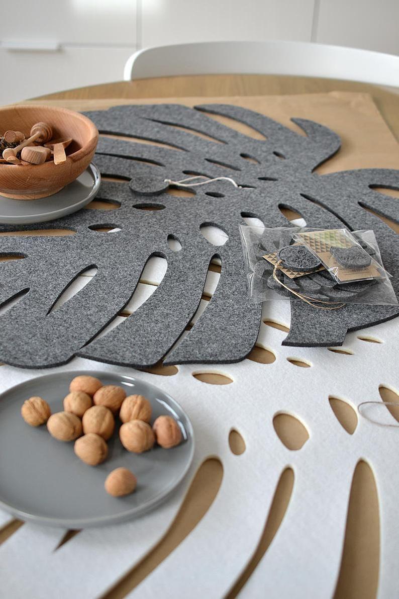 Coasters Felt Placemats Felt Pad With Monstera Leaf In 2021 Placemats Felt Diy Felt