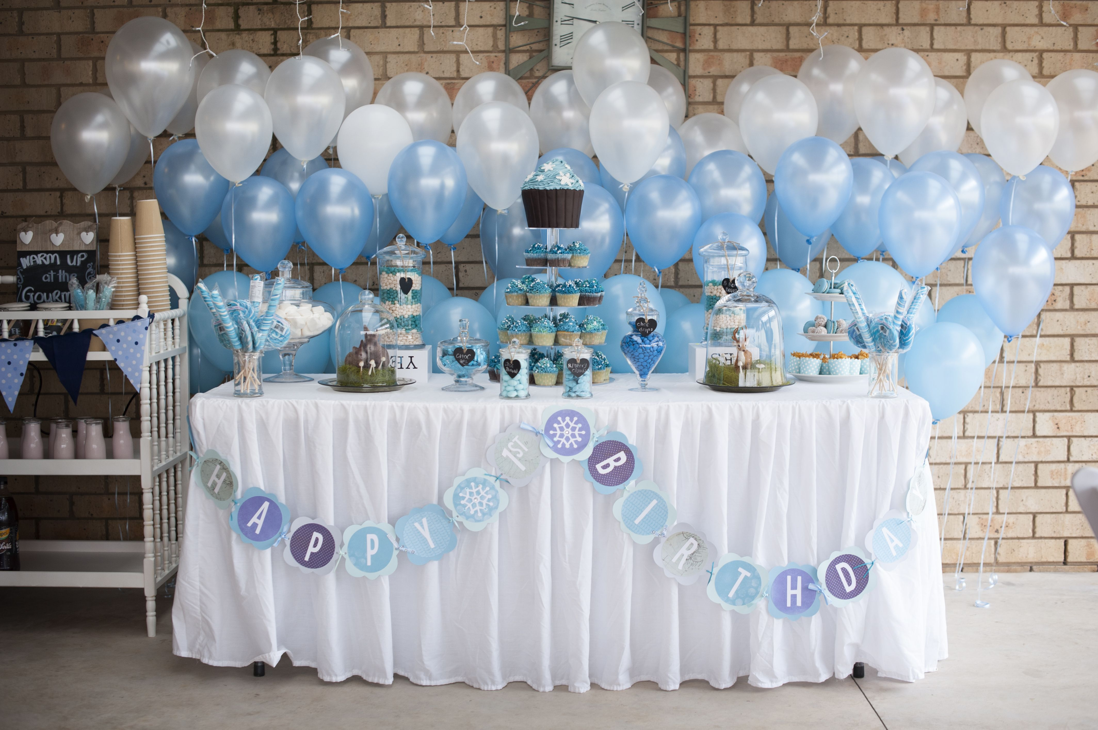 Winter Wonderland 1st Birthday Little Boy First Party Cake And Dessert Table Onederland Snow