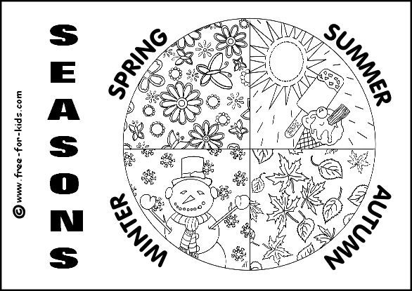 4 Seasons Coloring Pages Printable Colouring