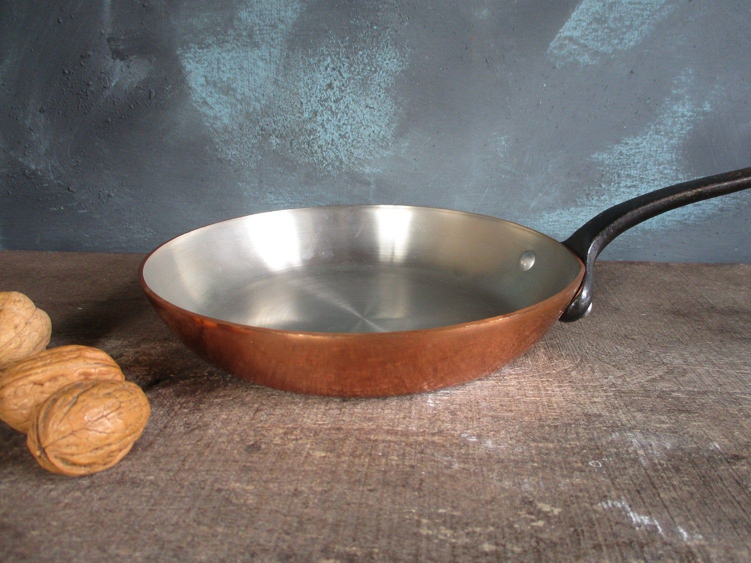 Vintage French Copper Saute Fry Pan Skillet