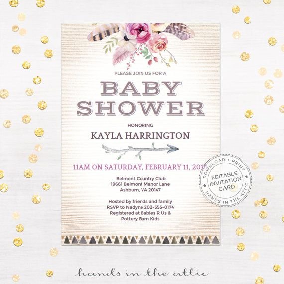 Boho chic baby shower, bohemian themed party, girl bridal shower - baby shower template