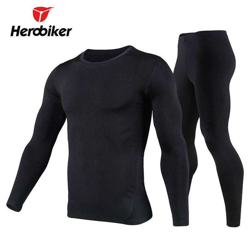 Men/'s Fleece Base Layer Cycling Long Sleeve Underwear Suit Winter Clothing Set