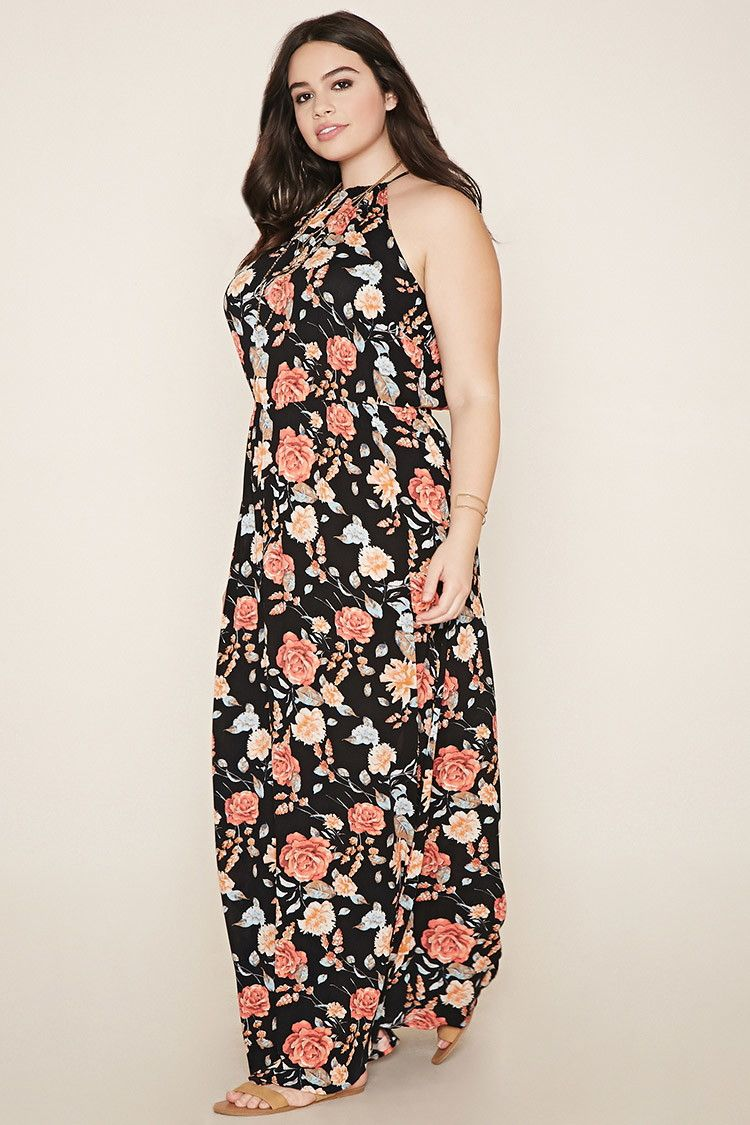 4e37ae89f29 Plus Size Floral Maxi Dress