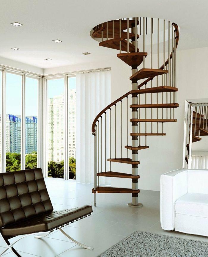 Escaleras de madera sal n con vista ventanales con - Escalera caracol prefabricada ...