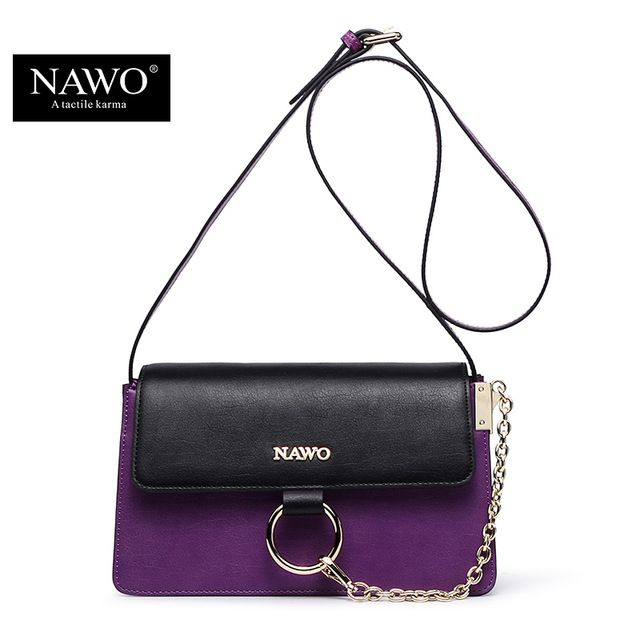a93c5bec6026 NAWO Fashion Famous Designer Brand Women Messenger Bags Genuine Leather  Metal Circle Small Crossbody Bag Chain Sac A Main Femme