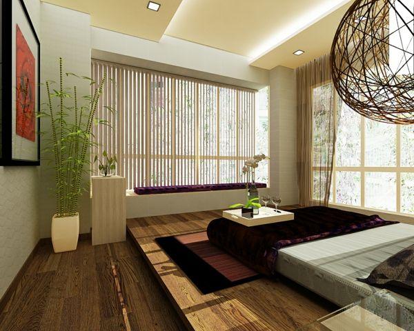 feng shui bett schlafzimmer im asiatischen stil zimmerpflanzen - schlafzimmer asiatisch