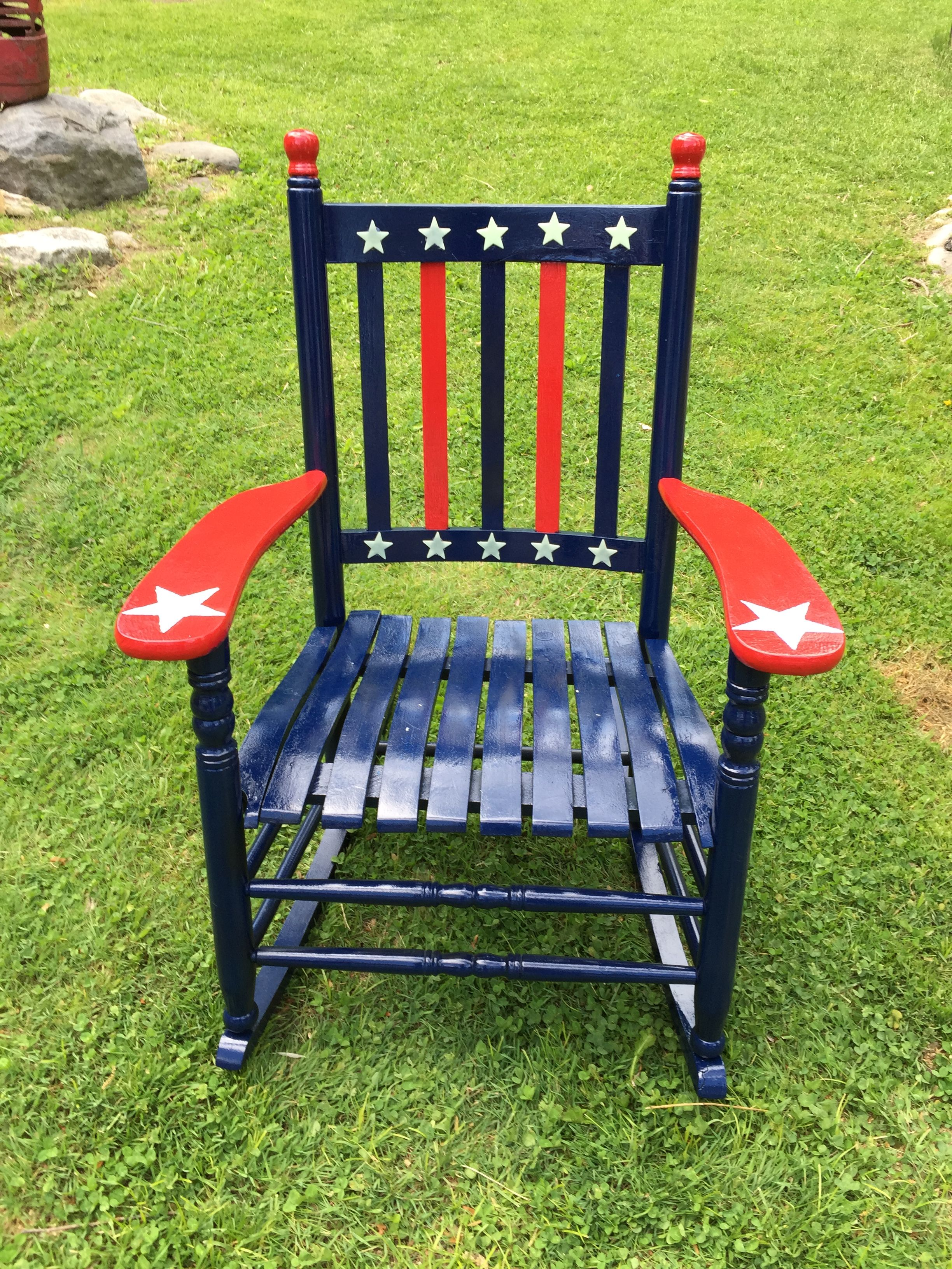 Awe Inspiring Old Rocking Chair Stripped And Repainted Red White Blue Pdpeps Interior Chair Design Pdpepsorg