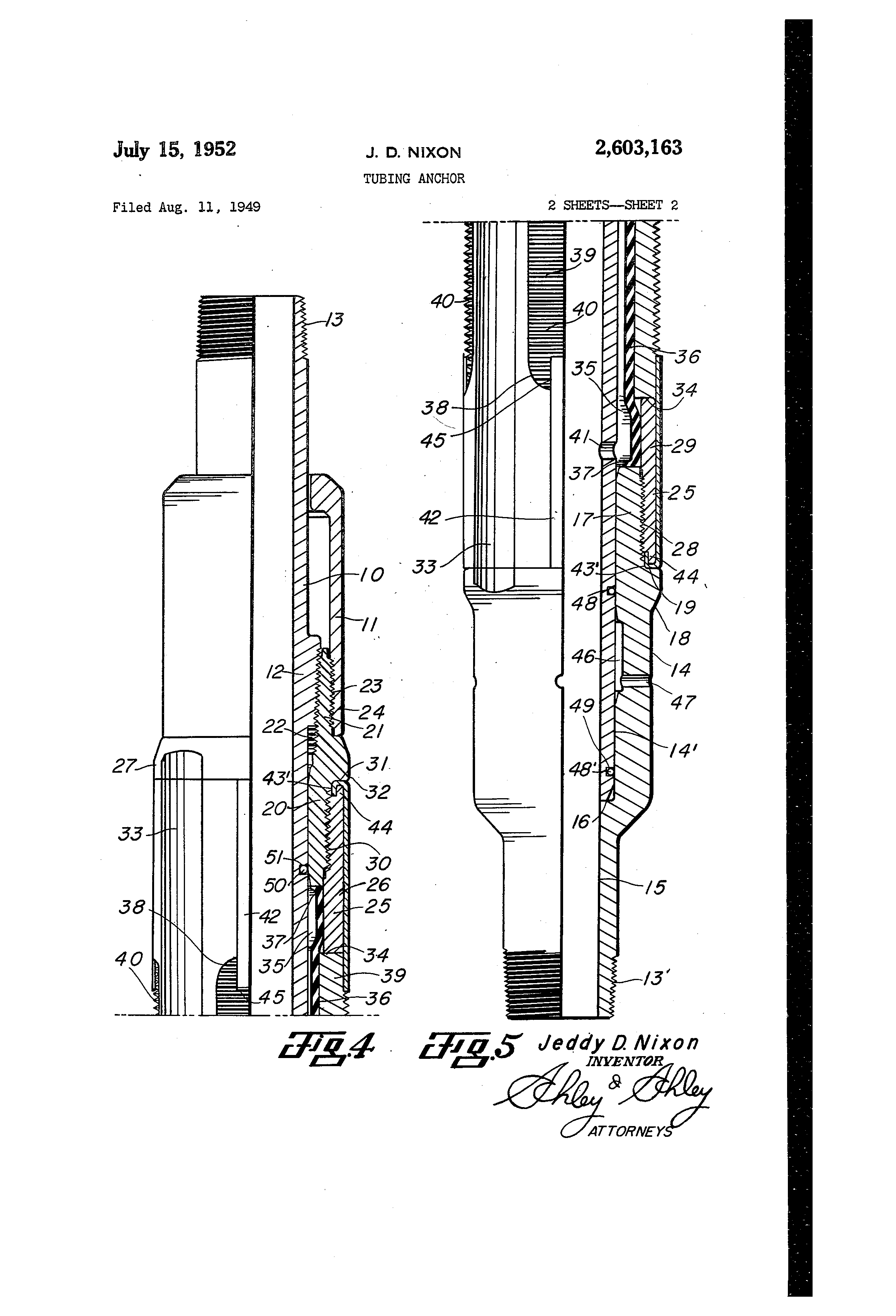 Patent US2603163 - Tubing anchor - Jul 15, 1952 | Sci Tech