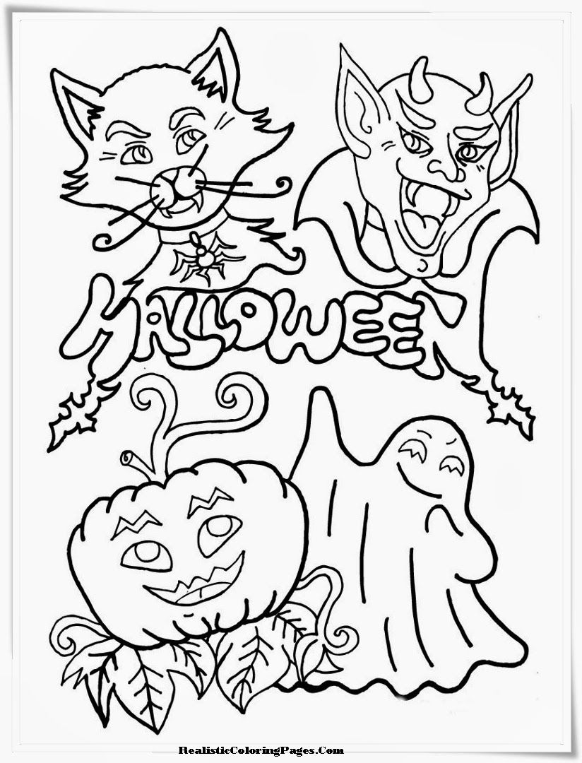happy halloween color pages day