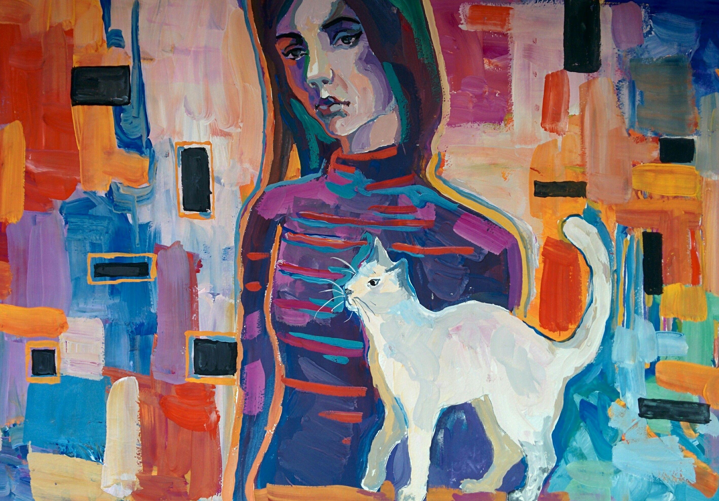 Картинки девушка кошка абстракция