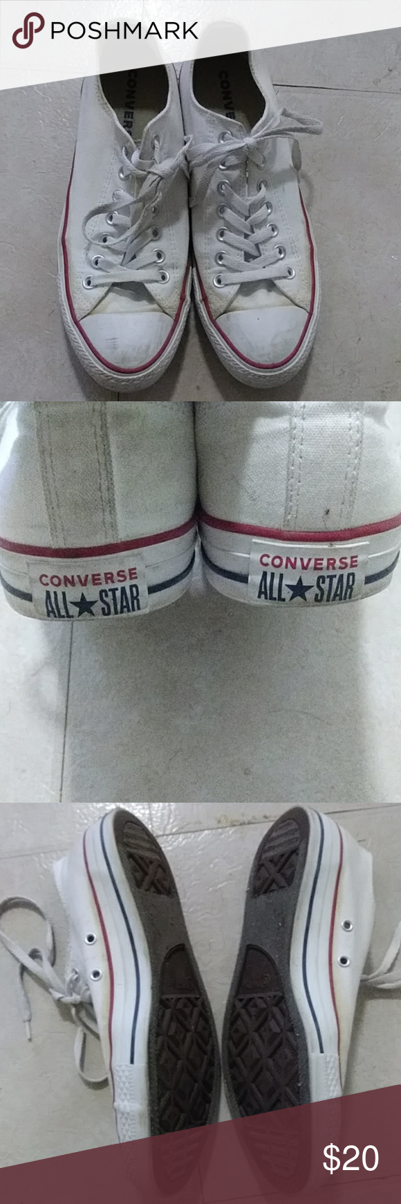 Mens White Converse Sneakers Size 8.5
