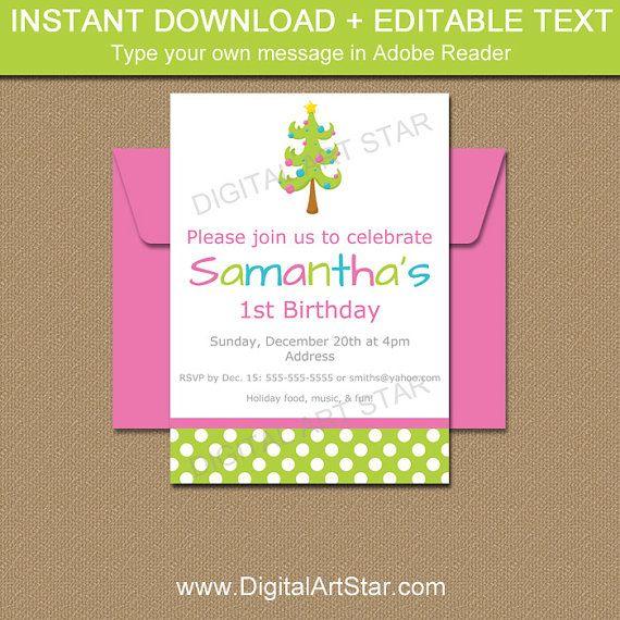 Christmas Birthday Invitation by digitalartstar