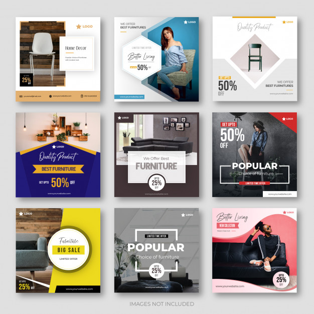 Modern Furniture Social Media Post Collection For Instagram Social Media Design Inspiration Social Media Design Instagram Ads Design