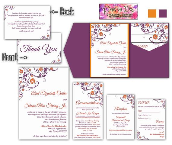 Diy Wedding Invitation Pocketfold Template Raspberry Wine Purple Orange Rusti Wedding Invitation Inserts Wedding Invitations Diy Pocket Wedding Invitations