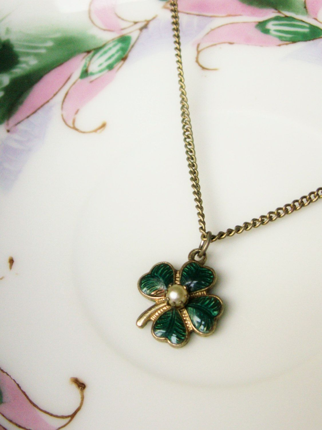 Green lucky shamrock necklace four leaf clover charm emerald green - Vintage Guilloche Enamel Pearl Pendant Necklace Green Lucky Shamrock 4 Leaf Clover Jewelry St Patricks Day 1950s