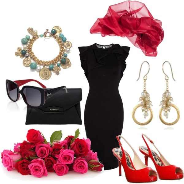 """Kentucky derby red and black"" by anfernee-131 ❤ liked on Polyvore"