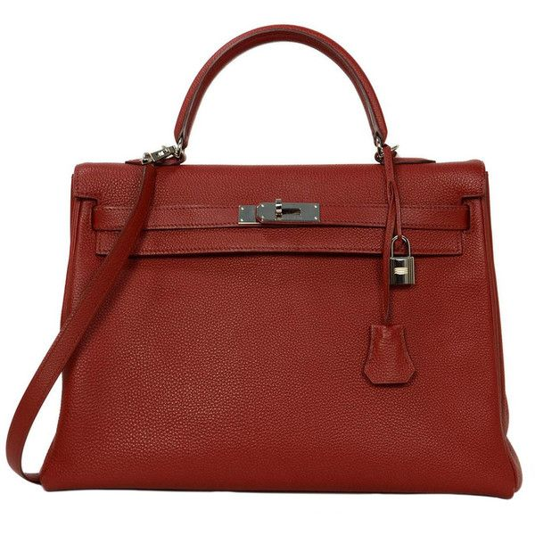 Pre-owned HERMES 2009 Red Togo Leather 35cm Retourne Kelly Bag PHW ($12,000) ❤ liked on Polyvore featuring bags, handbags, hermes, handbags and purses, red hand bags, hermes purse, handbags purses, leather purses and genuine leather purse