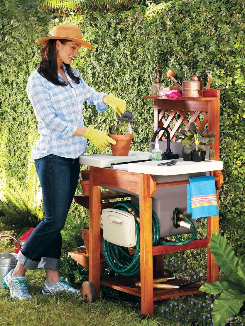 Garden Sink Work Station | Garden sink, Outdoor garden ... on Patio Sink Station id=23314
