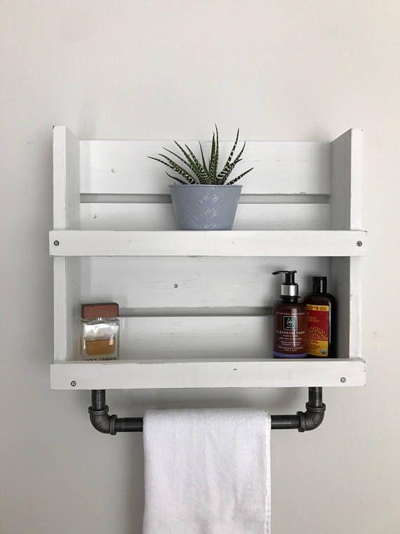 Photo of Bathroom Shelf With Towel Bar, White Distressed Wood Bathroom Shelf Storage With Pipe Towel Bar, Wall Mounted Shelf, Wood Shelf For Bathroom
