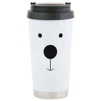 Minimalist Polar Bear Face Travel Mug