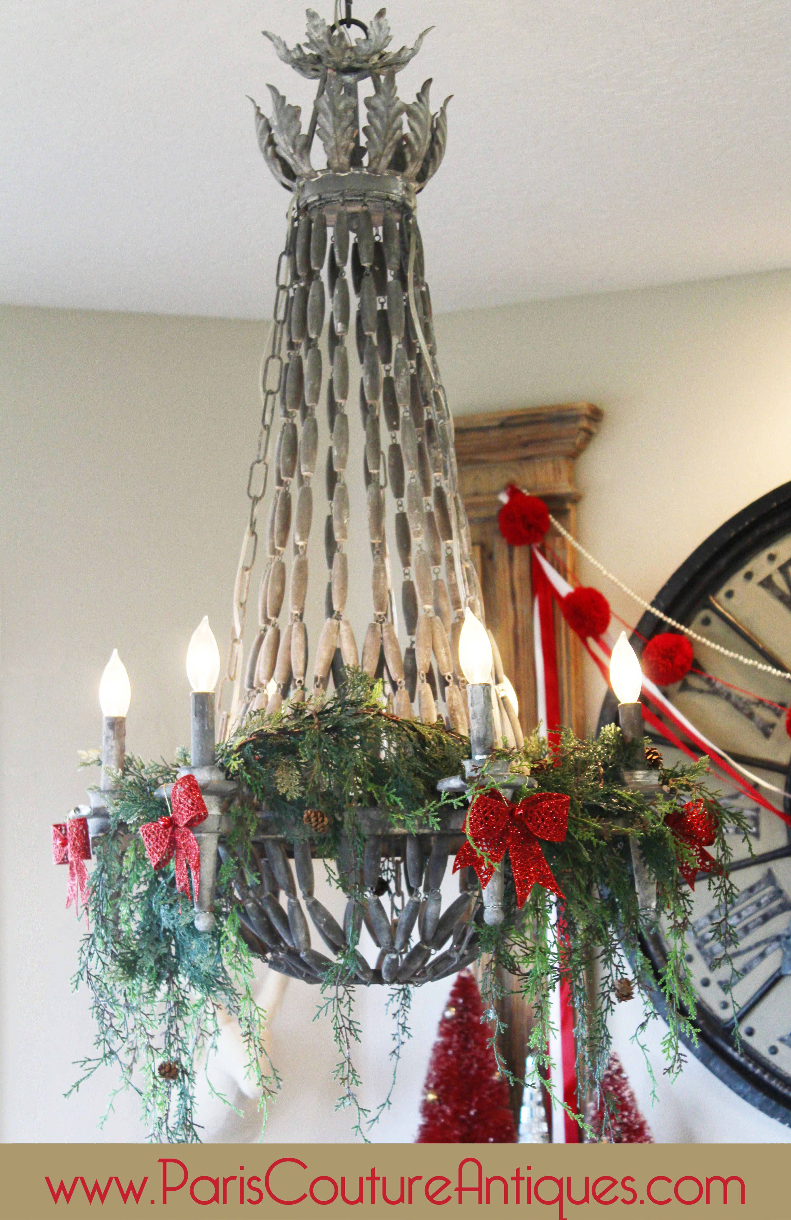 Christmas Decorating Christmas Tree Antique Vintage Shabby Chic Chandelier French Architectural red evergreen lighting Decorating DIY & Christmas Decorating Christmas Tree Antique Vintage Shabby Chic ... azcodes.com
