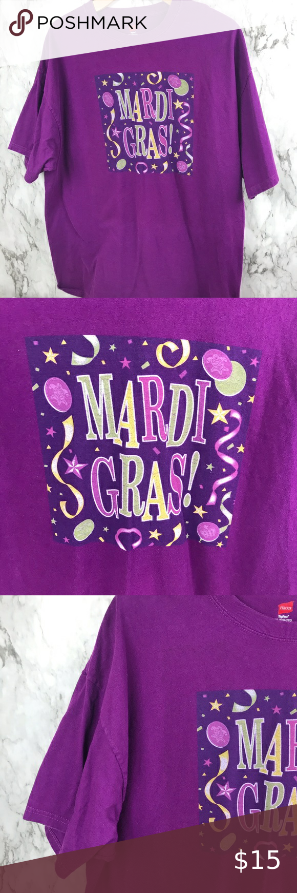 """Mardi Gras Graphic Shirt Tee Purple Size 2XL Size 2XL Pit to pit 24"""" Length is 29"""" #010 Hanes Tops Tees - Short Sleeve"""