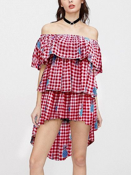 f81e258c861 Red Plaid Off Shoulder Pineapple Print Dipped Hem Layered Dress ...